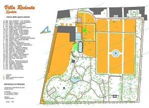 2011 Mappa Spoleto, Villa Redenta con elenco specie arboree